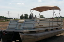 1999 24′ Crest III Pontoon with 60hp Mariner Motor